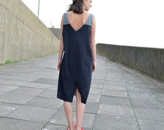 Handmade Sleeveless Dress made in 100% Organic cotton Jersey, Drop Armhole Style, reversible dress