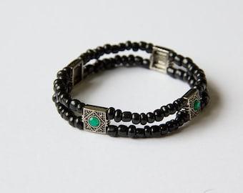 Double Stretch Bracelet Mosaic Silver Green