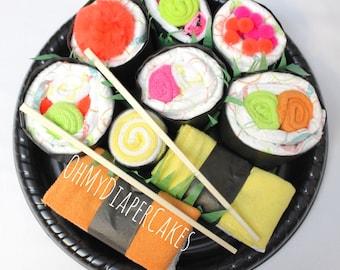 Sushi Diaper Cake, Sushi Platter Gift, Sushi Cake, Diaper Cake for Boy, Diaper Cake for Girl, Baby Shower Gift, Gender Neutral Diaper Cake