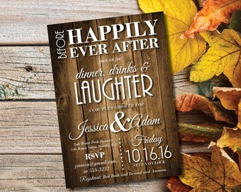 Couples Shower Invitations   Rustic Bridal Shower Invites   Rustic Wedding Shower   Wood   Before Happily Ever After   Dinner Drink Laughter