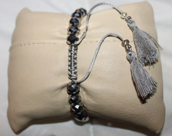 Silver or black shiny crystal & rhinestone-beaded handmade Shamballa bracelet with tassel