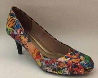 Custom Collage Heels- Comic Book Design