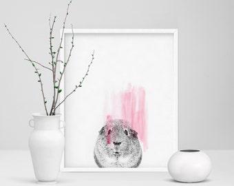 Сavy Print, Guinea Pig Wall Art, Large 20x30, Black and White, Pink, Room Decor, Scandinavian Art, Small Pet Poster, Glamour Animal