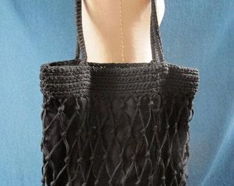 Carrie Forbes BoHo Chic Black Hand Crochet Shoulder Bag with Black Linen Lining