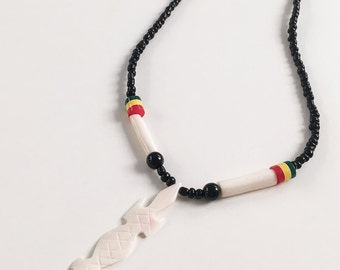 Beaded African Lizard Necklace