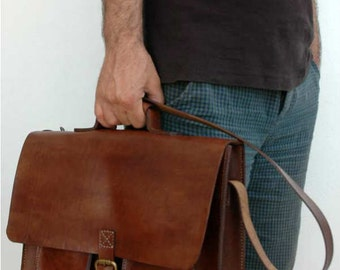 Leather handmade bag, messenger bag, crossbody bag, laptop bag, saddle bag etc.