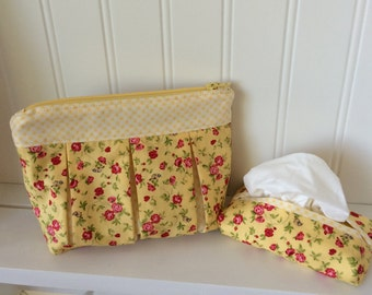 Yellow floral and gingham zippered pouch/pocket tissue holder