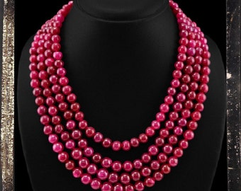 20% OFF COUPON!!!---Red Ruby Bead Necklace, 4 strand, 852 ctw