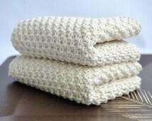 Kitchen Knit Towel. Bath Towel. Dischcloth. Handmade Kitchen Towel. Knitted Dish Cloth. Baby Towel. Towel in cotton yarn.