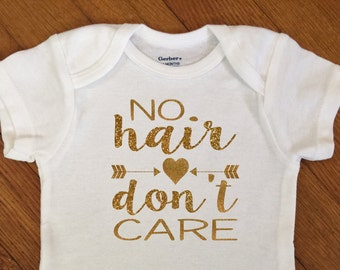 SALE! Glitter No Hair Don't Care Arrows Shirt, Just Born Baby Outfit, Sparkly Bodysuit, Infant Onesie®, Baby Shower Gift, Newborn, Hospital