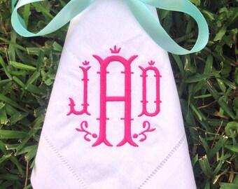 Monogrammed Hemstitched  White Linen Napkins, Set of 4 +