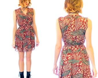 vintage 80's rust print casual dress, sz AU 10, small-medium