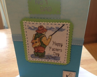 Completed cross stitch Father's Day card