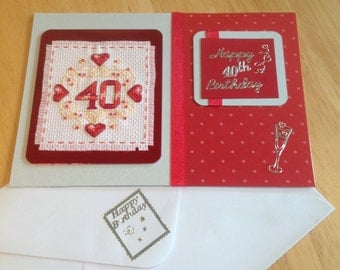 Completed cross stitch 40th Birthday card