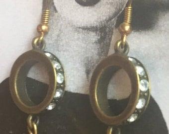 Gold Hoop Drop Earrings with Swarovski Crystals