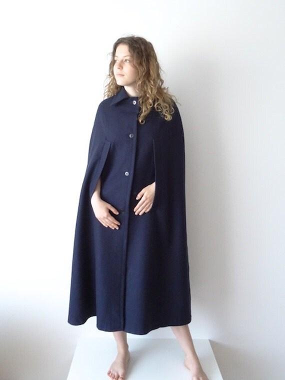vintage marine cape maxi mantel donker blauw mouwloos vacht. Black Bedroom Furniture Sets. Home Design Ideas