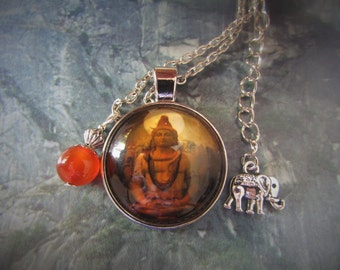 Lord Shiva and agate necklace, Shiva necklace, Indian necklace, Indian jewelry, Hindu necklace, Shiva, elephant, Hinduism, ethnic