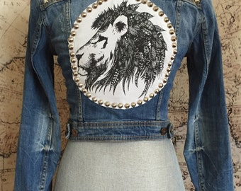 XS Studded Denim Jacket with Lion Patch Size Extra Small