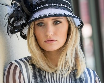 Black & White Cloche Hat With Feather Accents