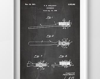 Bathroom Print, First Toothbrush Patent Poster, Dental Art, Tooth brush art, Dentist Office Gift for Dentist Gift Bathroom Decor P009