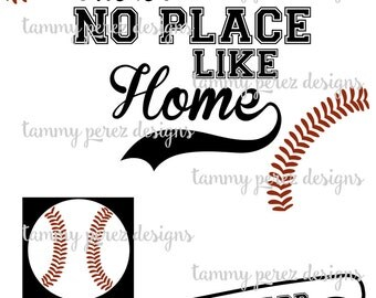 There's no Place like Home Baseball Softball SVG DXF file + BONUS - Digital Download for Craft Cutting