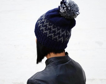Navy blue winter beanie with pom pom Hat Knitted slouchy hat