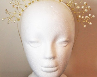 Gold bridal hairband/ headband, wedding hairband, crystal hairband, pearl hairband