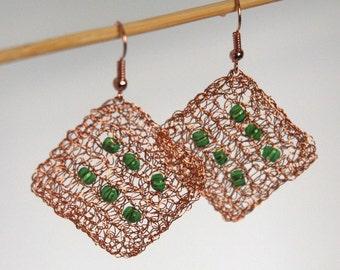 Copper wire crocheted earrings Wire Jewelry Statement jewelry