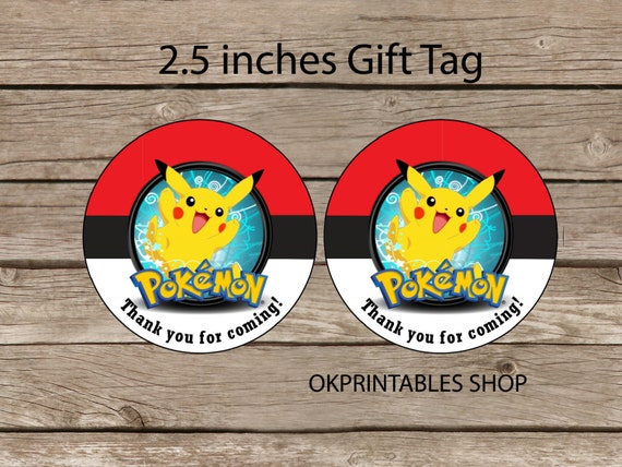 Pokemon favor tag - Instant Download 2.5 inches tag, Printable tag -