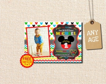 Mickey Mouse Birthday Invitation, Mickey Mouse Invitation,  with photo,  Mickey Birthday Invitation, Free Thank You Card