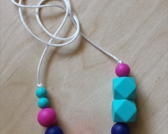 Mystic Silicone Necklace: Turquoise - Navy - Violet Pink