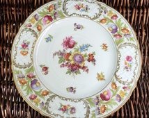 "Vintage Schumann ""Empress"" Dinner Plate #57 Dresden Flowers Mark Golden Crown E&R 1886"