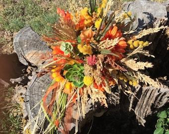 Rustic Autumn Bridal Bouquet with Sunflowers, Wildflowers, Succulents, Proteas, Thistles, Burlap, Alternative Flowers