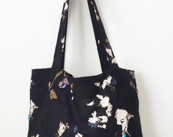 Purple Black White and Tan Patterned Women's Tote Bag