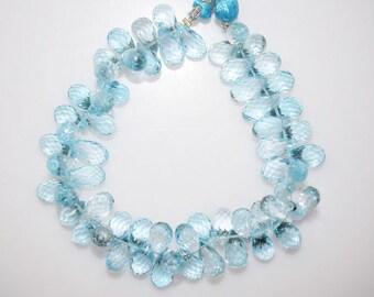 "Sky Blue Topaz Faceted Tear Drop Beads-Sky Blue Topaz Tear Drop Briolette, 9.5x6 - 13x6 mm, 7"" , BL786"