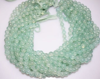 Sea Foam Chalcedony AB Coated Smooth Round Beads , Chalcedony Smooth Round , 7.5 - 8 mm - MC538
