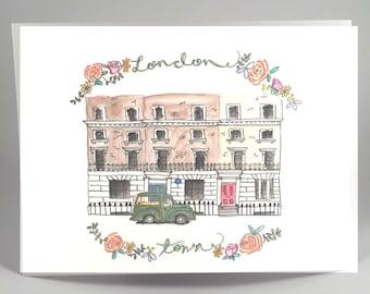 London, England Watercolor Street Art Illustration