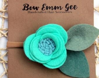 PIXIE Teal felt flower headband || Felt Flowers || Nylon headband || One size fits all (baby - adult) || bowemmgee