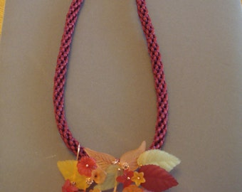 Lucite flower kumihimo necklace