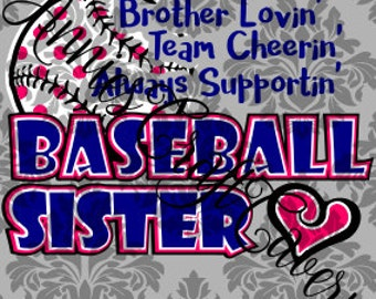Baseball Sister File .svg, .dxf
