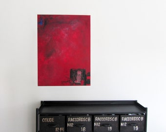 Red powder - original painting - acrylic on canvas - 60 cm x 80 cm