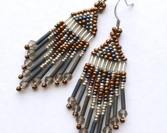 Bronze metallic beaded earrings