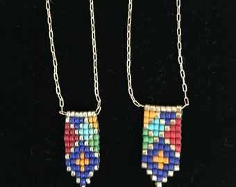 Colorful Beaded Arrow Necklace, with Sterling Silver or 14k/20 Gold Filled Chain