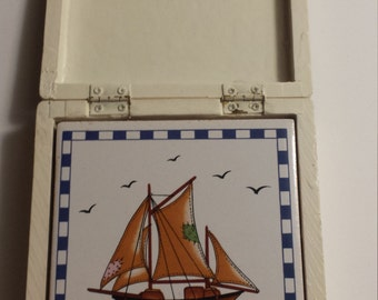 Ceramic SAILBOAT COASTERS Set of 4 with WOOD Holder, Vintage Coasters, Ceramic Coasters