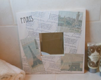 Small Square Paris Mirror. Hand Decorated. For Bathroom, Bedroom, Lounge, Living Room.
