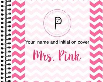 Pink Chevron Teacher Planner 2016-2017