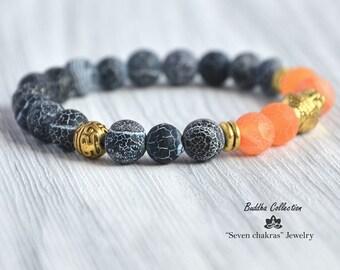 Matte Black Orange Yoga Bracelet Beaded Bracelet Gemstone Bracelet Mala Beaded Bracelet