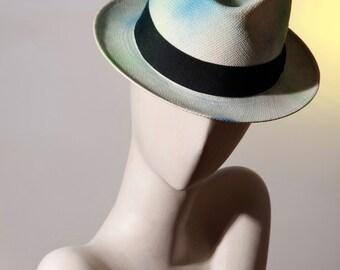 patina white panama Hat blue