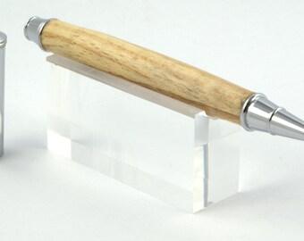Turned Rollerball Pen in Silver Birch