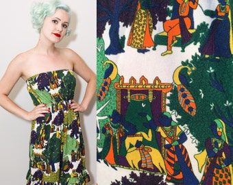 1960's / 1970's Psychedelic Indian Print Tube Top Dress / Small
